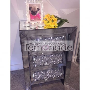 Lemonade Elite Crushed Diamonds Bedside Table Drawers
