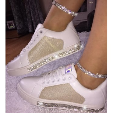 6c96c6bee72b Lemonade Glitter and Crystal Trim Sneakers Limited Edition Champagne