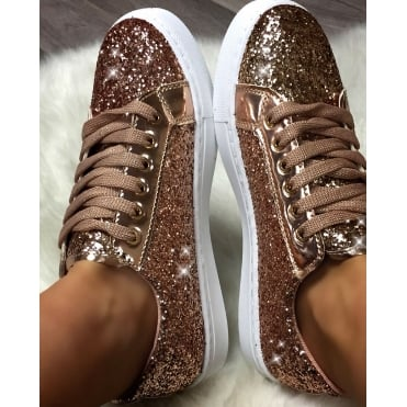 Lemonade Glitter Fizz Trainers Rose Gold