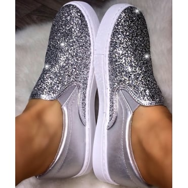 Lemonade Glitter Front Pumps Silver