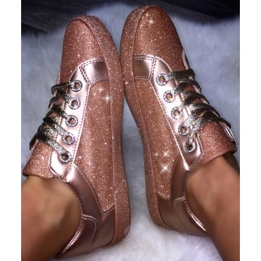 Lemonade Glitter Splash Sneakers Rose Gold