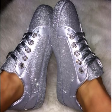 Lemonade Glitter Splash Sneakers Silver
