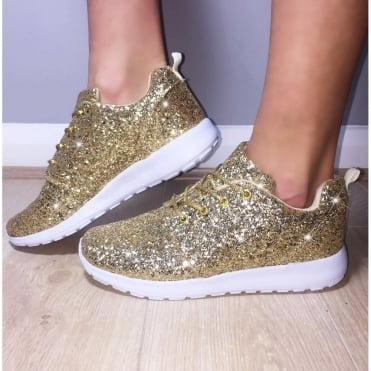 Lemonade Glitterbomb Sparkly Trainers Gold