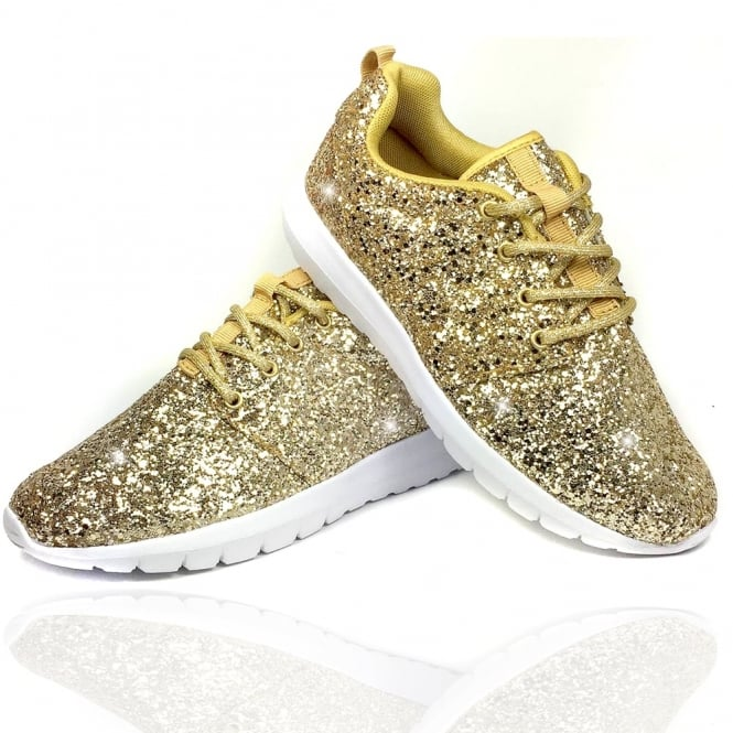 28dbf10301c6 Lemonade - Gold Sparkly Glitterbomb Trainers