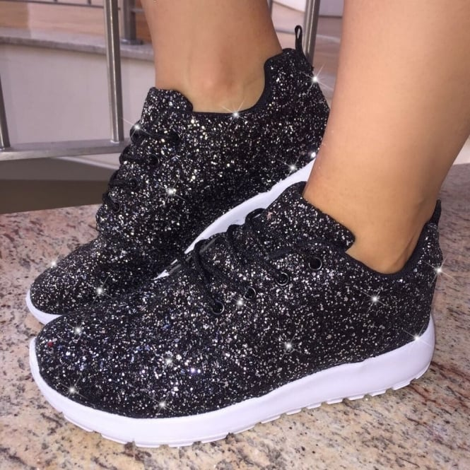Lemonade Glitterbomb Sparkly Trainers Limited Edition Fizzy Black