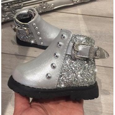 8e58480c2434 LL Lemonade Little Lemmy Glitter Buckle Boots Silver