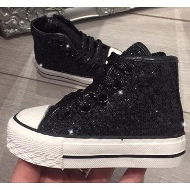 LL Lemonade Little Lemmy Glitter Converse Style Trainers Black e92b2673b1f8