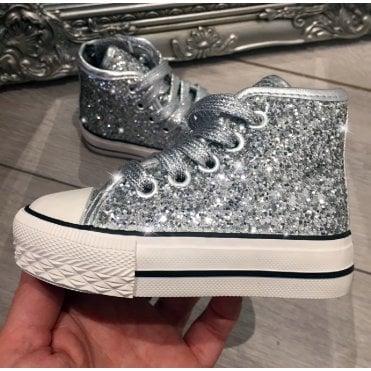 ca4579712d36 LL Lemonade Little Lemmy Glitter Converse Style Trainers Silver
