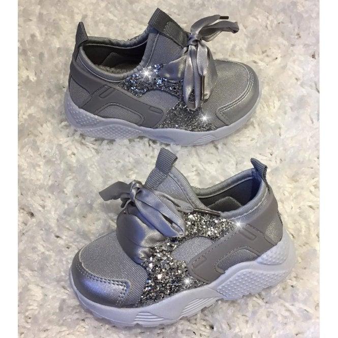09d04be87fae Lemonade Little Lemmy Glitter Trainers Silver - SHOP SHOES from ...