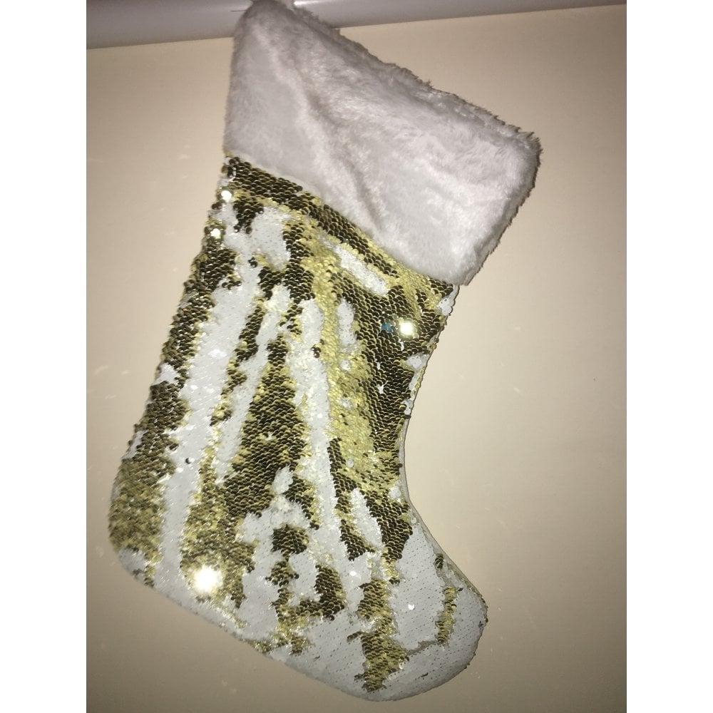 Mermaid Christmas Stocking.Lemonade Mermaid Christmas Stocking Gold White