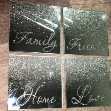 Lemonade Mirrored Glitter Quote Coasters Set of 4