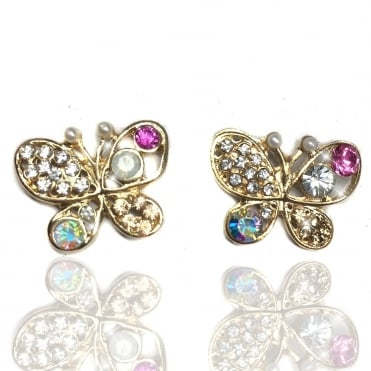 Lemonade Opal and Pearl Crystal Butterfly Earrings