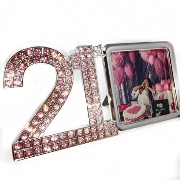 Lemonade Pink Swarovski Crystal 21st Birthday Photo Frame