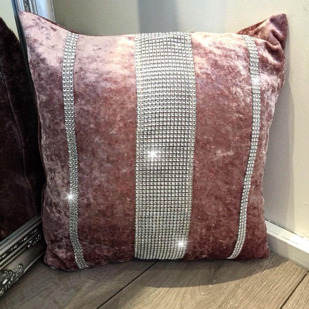 Lemonade Pink Velvet Trio Crystal Cushion