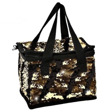 Lemonade Sequin Cooler Bag Gold & Black