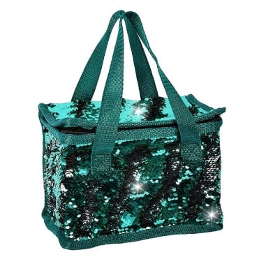 Lemonade Sequin Cooler Bag Teal & Silver