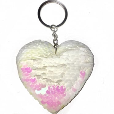 Lemonade Sequin Heart Two Tone Keyring Iridescent