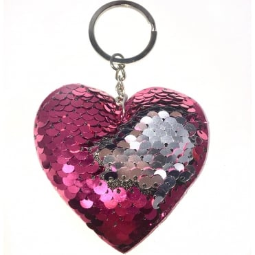 Lemonade Sequin Heart Two Tone Keyring Pink & Silver