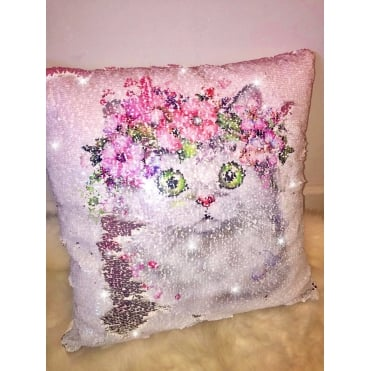 Lemonade Sequin Kitten Cushion