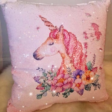 Lemonade Sequin Little Miss Unicorn Cushion