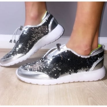 Lemonade Sequin Mermaid Trainers Silver