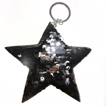 Lemonade Sequin Two Tone Star Keyring Silver & Black