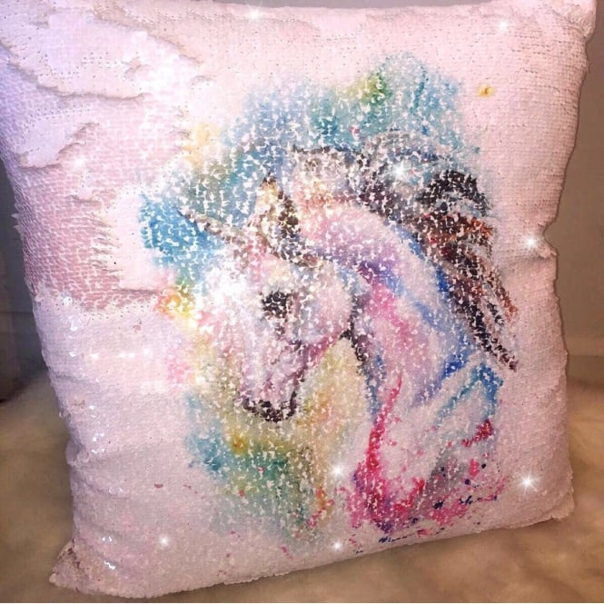 Lemonade Sequin Unicorn Cushion