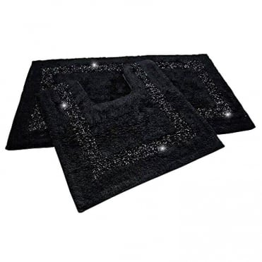 Lemonade Sparkly Bath and Toilet Mat Set Black