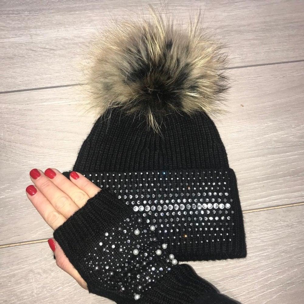 0bdc6e1588c Lemonade Swarovski Crystal Dazzle Hat Black and Crystal Pearl Fingerless  Glove Set - SHOP ACCESSORIES from Lemonade UK