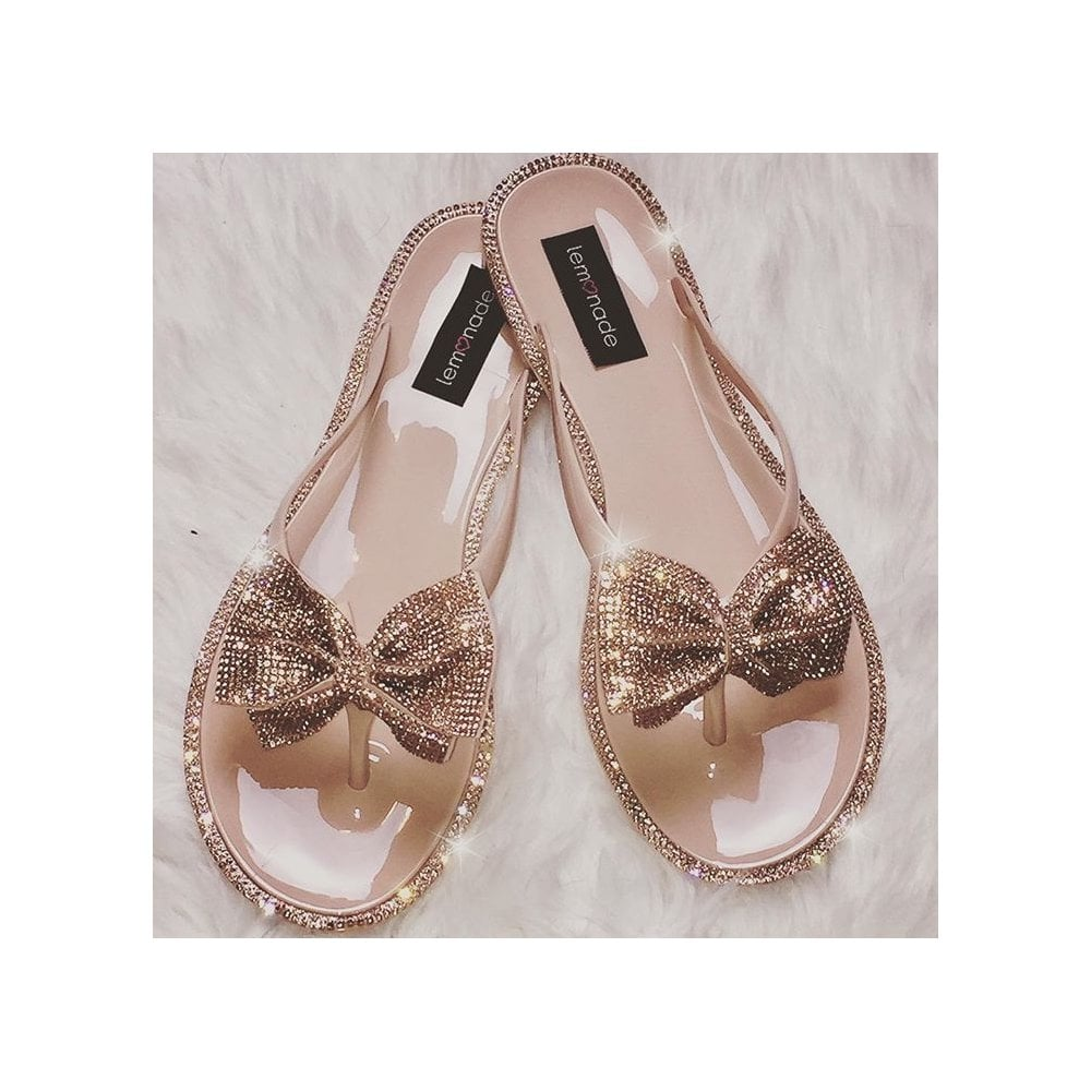 4677e2e549d0 Lemonade Swarovski Crystal Jelly Bow Flip Flop Rose Gold - SHOP ...