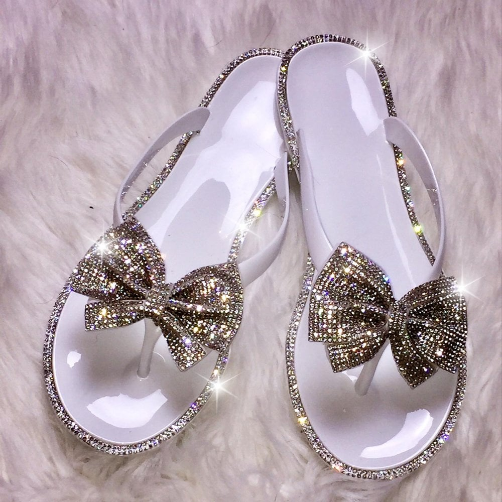 bef16831d807 Lemonade Swarovski Crystal Jelly Bow Flip Flop Silver - SHOP SHOES ...