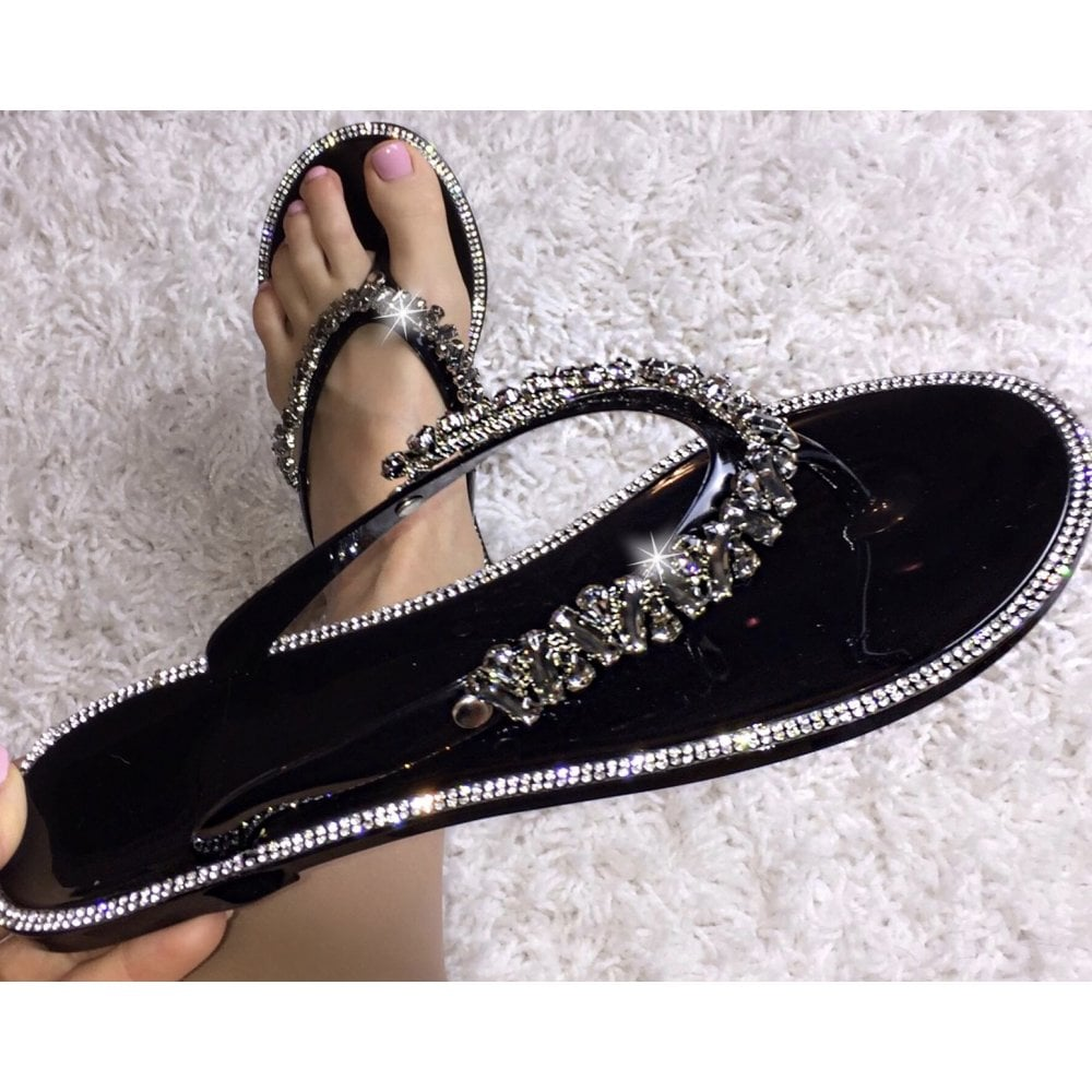 33659cff9e19 Lemonade Swarovski Crystal Nugget Drop Jelly Flip Flops Black - SHOP SHOES  from Lemonade UK
