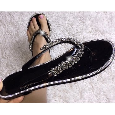 4cf75d26d209 Lemonade Swarovski Crystal Nugget Drop Jelly Flip Flops Black