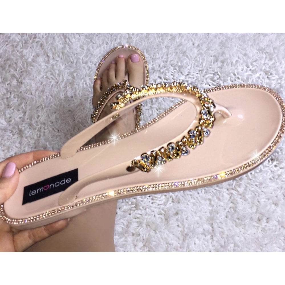 c2dd3f9d7b Lemonade Swarovski Crystal Nugget Drop Jelly Flip Flops Rose Gold - SHOP  SHOES from Lemonade UK