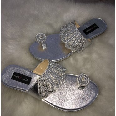 Lemonade Toe Ring Sandals Silver