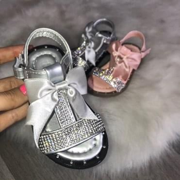 Little Lemmy Crystal Bow Sandals