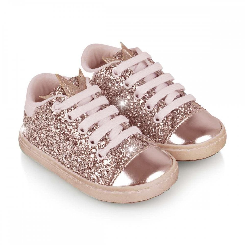 Rose Gold Sparkly Glitterbomb Trainers