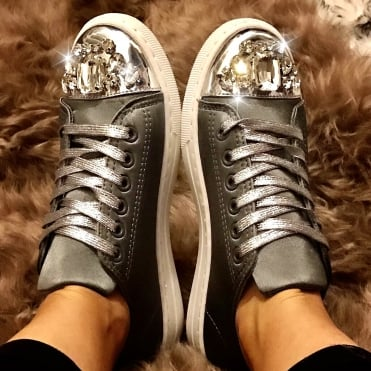 Mui Mui Style Sneakers Pewter