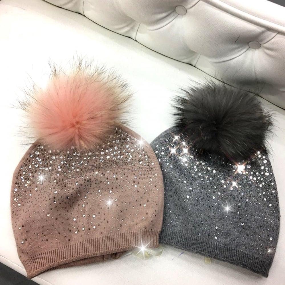 Swarovski crystal Faux fur beanie hat - SHOP ACCESSORIES from Lemonade UK 7cf9e5f8461